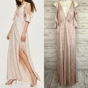 Topshop Dresses - Topshop blush pink ruffle cold shoulder maxi dress